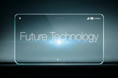 Future technology wording on transparent smartphone Stock Photos