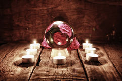 Future teller candle divination. Various vintage elements on old worn backgrounds different concepts Royalty Free Stock Photos