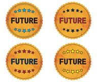 FUTURE text, on round wavy border vintage, stamp badge. Royalty Free Stock Images