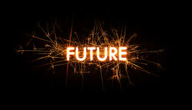 FUTURE title word in glowing sparkler Royalty Free Stock Photography