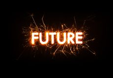 FUTURE title word in glowing sparkler Stock Images