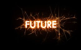 FUTURE title word in glowing sparkler Stock Photography