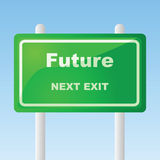Future traffic sign. Concept illustration of a glossy traffic sign with the words Future - next exit Stock Photos