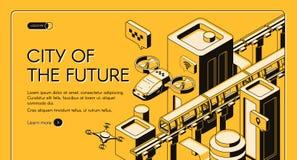 Future transport technologies vector web banner stock illustration