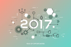 Future trends and prospects in business process organization, structuring, networking, communication. Infographic concept, 2017 - year of opportunities. Future Stock Photos