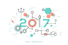 Future trends and prospects in business process organization, structuring, networking, communication. Infographic concept, 2017 - year of opportunities. Future Royalty Free Stock Photos