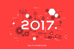 Future trends and prospects in business process organization, structuring, networking, communication. Infographic concept, 2017 - year of opportunities. Future Royalty Free Stock Image