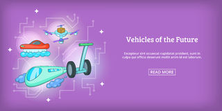 Future vehicles banner horizontal, cartoon style. Future vehicles banner horizontal concept. Cartoon illustration of future vehicles banner horizontal vector for Stock Image