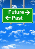 Future versus past road sign concept Stock Photo