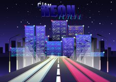 Future ville au néon illustration stock