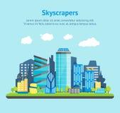 Future ville de bande dessinée sur une affiche de carte de fond de paysage Vecteur illustration de vecteur