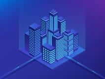 Future ville isométrique Concept d'immobiliers et d'industrie du bâtiment Réalité virtuelle Illustration de vecteur illustration de vecteur