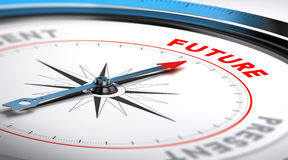 Future Vision. Compass with needle pointing the word future. Conceptual illustration suitable for motivation purpose or future vision Stock Photos