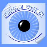 Future vision emblem with blue iris and the pupil on paper with rolled corner, useful as slide for motivation training Royalty Free Stock Images