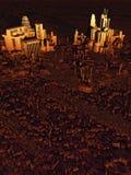 Future vue d'oeil d'oiseau de ville au coucher du soleil illustration libre de droits
