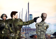Future war crime. A scene of a futuristic war in 3d Royalty Free Stock Photography