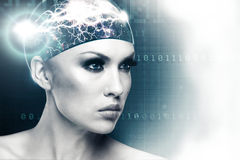 Future woman. Abstract sci-fi female portrait for your design Royalty Free Stock Photo