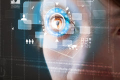 Future woman with cyber technology eye Royalty Free Stock Image
