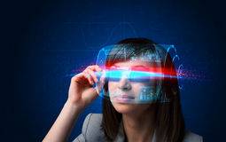 Future woman with high tech smart glasses Royalty Free Stock Images