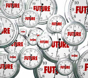 Future Word Clocks Moving Forward Tomorrow Next Progress. Future word on clocks moving forward toward tomorrow or next time advancing Royalty Free Stock Photos