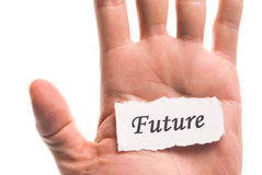 Future word in hand Stock Photos