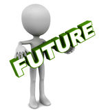 Future. Word in the hands of a little 3d man, white background, green text Stock Photos
