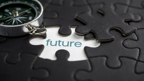 Future. Word future under jigsaw puzzle piece royalty free stock photo