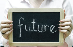 Future word written on blackboard/chalckboard Stock Photos