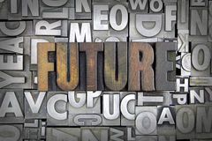 Future. Written in vintage letterpress type stock photos