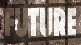 Future Written On A Wall. With Jail Bars Shadow Royalty Free Stock Image
