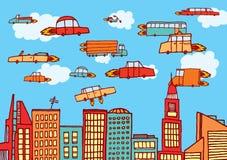 Futures voitures volant au-dessus de la ville illustration stock