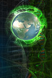 Futurisic Map. Earth Globe over a sci-fi background with dna chains Royalty Free Stock Photography
