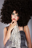 Futurism. Fanciful Girl in Huge Unusual Black African Frizzy Wig. Futuristic Unusual Girl in Big Unusual Black Peruke stock photo