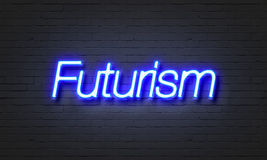 Futurism neon sign on brick wall background. Royalty Free Stock Image