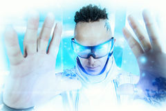 Futurism. Portrait of the eccentric futuristic man in silver costume. Innovations and high technology. Rock artist stock images