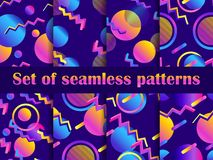 Futurism seamless pattern set. Liquid shape in the style of 80s. Synthwave retro background. Retrowave. Geometric objects with gradient. Vector illustration royalty free illustration