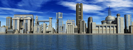 Futurist city in 3D. (big city Royalty Free Stock Photography