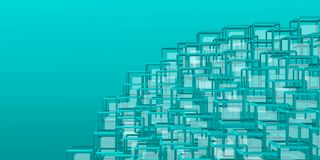 Futurist and geometric mountain over bluish backgound. Stock Photos