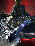 Futurist ISS and shuttle. Close to a planet with rings, a shuttle leaving a spatial station Royalty Free Stock Photos