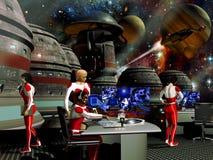 Futurist spatial station Royalty Free Stock Photo