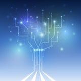 Futurista abstracto - tecnología de las moléculas con la placa de circuito