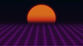 Futurista retro Grade e por do sol fundo retro da ficção científica 80s ilustração royalty free