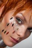 futuristic övre kvinna för tät framsida Arkivbilder