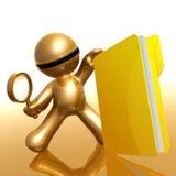 Futuristic 3d figure searching big folder Stock Photography