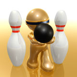 Futuristic 3d icon playing bowling ball. Illustration Royalty Free Stock Photo