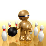 Futuristic 3d icon playing bowling ball. Illustration Royalty Free Stock Images