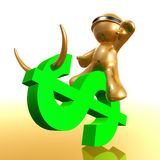 Futuristic 3d icon riding the dollar symbol Stock Images