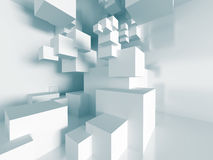 Futuristic Abstract Architecture. Blocks Design. 3d Render Illustration Royalty Free Stock Images