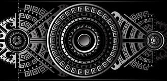 Futuristic abstract backdrop with ethnic elements. Futuristic ornament panel with ethnic and tribal geometric elements Royalty Free Stock Photos