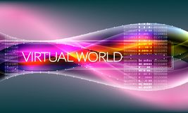Futuristic abstract background with binary code and inscription virtual world. vector illustration